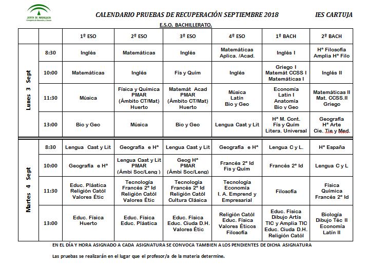 Calendario De Septiembre.Calendario Pruebas De Recuperacion Septiembre 2018 Ies Cartuja